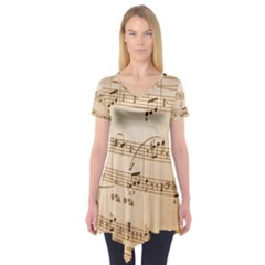 Music Notes Background Short Sleeve Tunic  by Nexatart