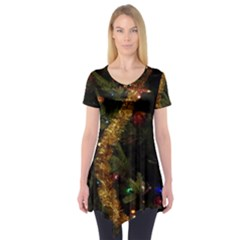 Night Xmas Decorations Lights  Short Sleeve Tunic  by Nexatart