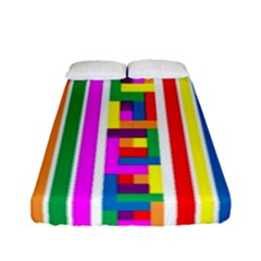 Rainbow Geometric Design Spectrum Fitted Sheet (full/ Double Size)