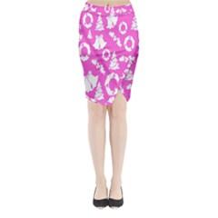 Pink Christmas Background Midi Wrap Pencil Skirt by Nexatart