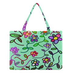 Flowers Floral Doodle Plants Medium Tote Bag by Nexatart