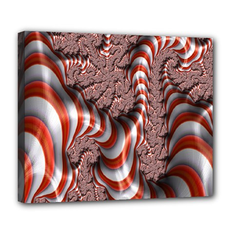 Fractal Abstract Red White Stripes Deluxe Canvas 24  x 20   by Nexatart