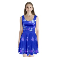 Star Bokeh Background Scrapbook Split Back Mini Dress  by Nexatart