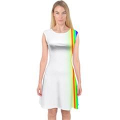 Rainbow Side Background Capsleeve Midi Dress by Nexatart