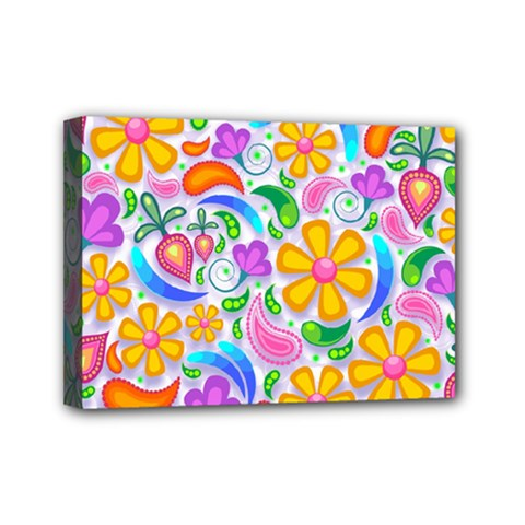 Floral Paisley Background Flower Mini Canvas 7  X 5  by Nexatart