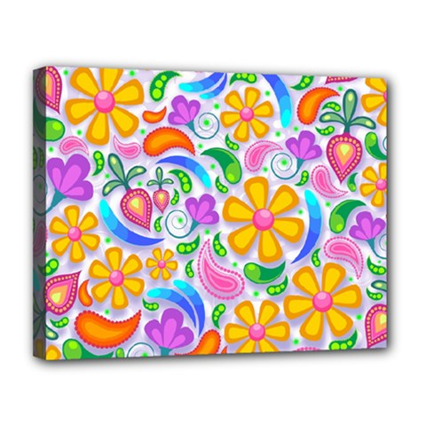 Floral Paisley Background Flower Canvas 14  X 11  by Nexatart