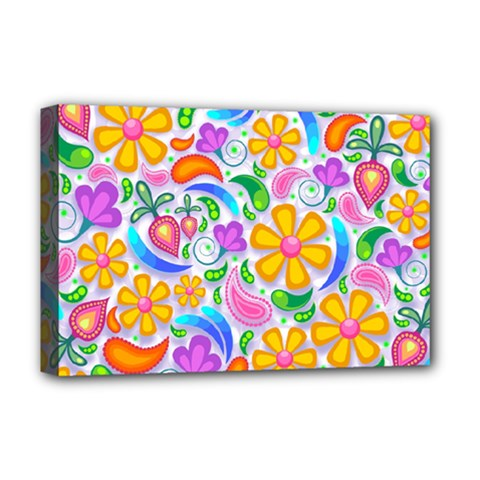 Floral Paisley Background Flower Deluxe Canvas 18  X 12   by Nexatart