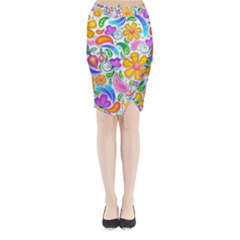 Floral Paisley Background Flower Midi Wrap Pencil Skirt by Nexatart