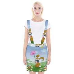 Easter Spring Flowers Happy Suspender Skirt