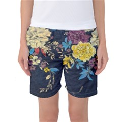 Deep blue vintage flowers Women s Basketball Shorts by Brittlevirginclothing