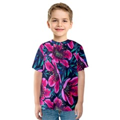 Purple Flowers Kids  Sport Mesh Tee by Brittlevirginclothing