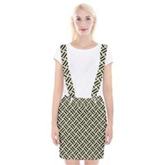 Woven2 Black Marble & Beige Linen (r) Braces Suspender Skirt