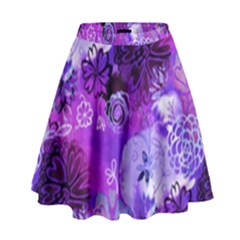 Urban Purple Flowers High Waist Skirt by KirstenStar