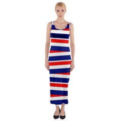 Red White Blue Patriotic Ribbons Fitted Maxi Dress by Nexatart