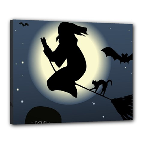 Halloween Card With Witch Vector Clipart Canvas 20  x 16