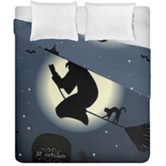 Halloween Card With Witch Vector Clipart Duvet Cover Double Side (california King Size) by Nexatart