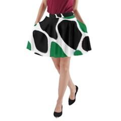 Green Black Digital Pattern Art A-Line Pocket Skirt