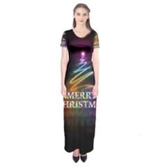 Merry Christmas Abstract Short Sleeve Maxi Dress by Nexatart