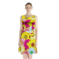 Floral Background Sleeveless Chiffon Waist Tie Dress by Nexatart