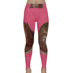 Snail Pink Background Classic Yoga Leggings by Nexatart