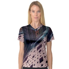 Industry Fractals Geometry Graphic Women s V Neck Sport Mesh Tee by Nexatart