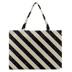 Stripes3 Black Marble & Beige Linen (r) Medium Zipper Tote Bag by trendistuff