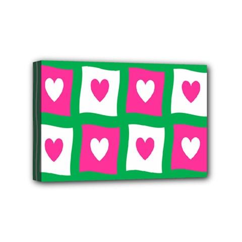 Pink Hearts Valentine Love Checks Mini Canvas 6  X 4  by Nexatart