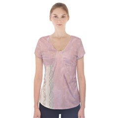 Guestbook Background Victorian Short Sleeve Front Detail Top by Nexatart