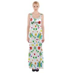 Cute Butterflies And Flowers Pattern Maxi Thigh Split Dress by Valentinaart