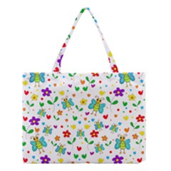 Cute Butterflies And Flowers Pattern Medium Tote Bag by Valentinaart