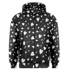 Black And White Hearts Pattern Men s Zipper Hoodie by Valentinaart