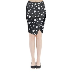 Black and white hearts pattern Midi Wrap Pencil Skirt by Valentinaart