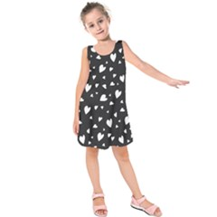 Black and white hearts pattern Kids  Sleeveless Dress by Valentinaart