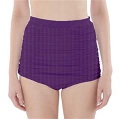Purple texture High-Waisted Bikini Bottoms by Valentinaart