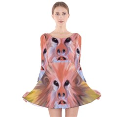 Monster Ghost Horror Face Long Sleeve Velvet Skater Dress by Nexatart