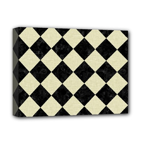 Square2 Black Marble & Beige Linen Deluxe Canvas 16  X 12  (stretched)  by trendistuff