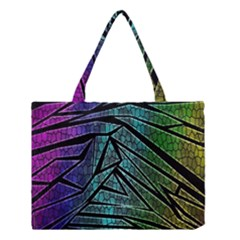 Abstract Background Rainbow Metal Medium Tote Bag by Nexatart
