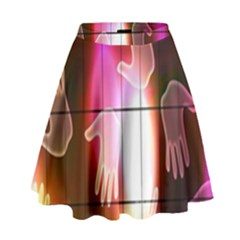 Abstract Background Design Squares High Waist Skirt by Nexatart
