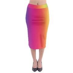 Abstract Rainbow Midi Pencil Skirt