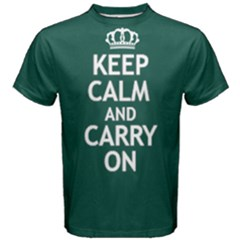 Green Keep calm and carry on Tee Men s Cotton Tee by FunnySaying