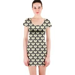 SCA3 BK-MRBL BG-LIN (R) Short Sleeve Bodycon Dress by trendistuff