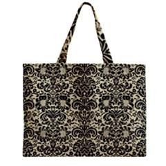 Damask2 Black Marble & Beige Linen (r) Zipper Mini Tote Bag by trendistuff