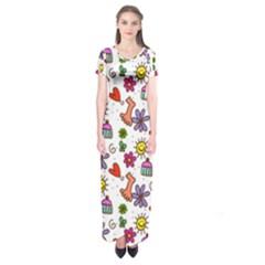 Doodle Pattern Short Sleeve Maxi Dress by Nexatart