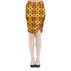 Seventies Hippie Psychedelic Circle Midi Wrap Pencil Skirt