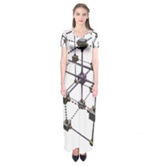 Grid Construction Structure Metal Short Sleeve Maxi Dress