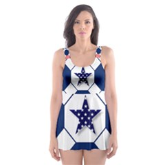 Patriotic Symbolic Red White Blue Skater Dress Swimsuit by Nexatart