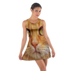 Cat Red Cute Mackerel Tiger Sweet Cotton Racerback Dress by Nexatart