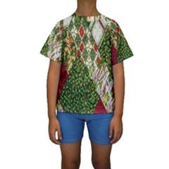 Christmas Quilt Background Kids  Short Sleeve Swimwear by Nexatart