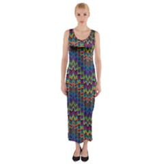 Decorative Ornamental Abstract Fitted Maxi Dress by Nexatart