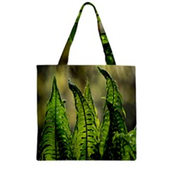 Fern Ferns Green Nature Foliage Zipper Grocery Tote Bag by Nexatart
